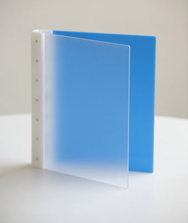 "Presence 3-Ring Binder by Case Envy » 1"" (tabloid) Landscape » Frosted Clear Front and Blue Back with White Hinge"
