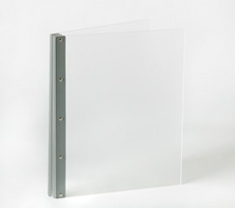 Looking Glass Screwpost Portfolio Cover by Lost Luggage » 11x11 Square » Frosted Clear Acrylic with Silver Hinge