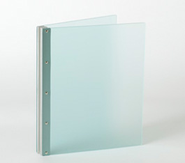Looking Glass Screwpost Portfolio Cover by Lost Luggage » 8.5x11 Landscape » Frosted Green Acrylic with Silver Hinge