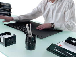 Modus Desk Pad with Pencil Tray by Rexite » Black Pad and Tray